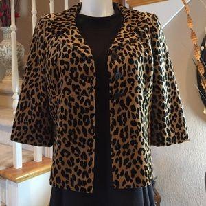 Velvet Animal Print 3/4 Sleeve Jacket XL fits 14
